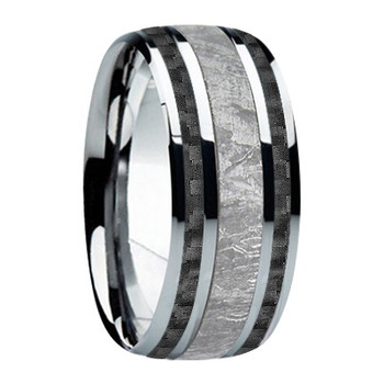 9 mm Meteorite, Mens Wedding Bands - M740FS-Black