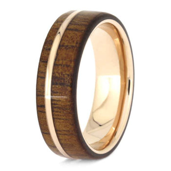 7 mm Unique Mens Wedding Bands - 14 Kt. Rose Gold & KOA Wood - RG614M