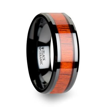 8 mm Black Ceramic and Padauk Inlay - W017TR