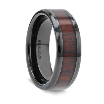 8 mm Black Ceramic and Cocobolo Inlay - W046TR