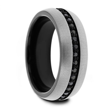 8 mm Gun Metal Gray Tungsten with Black Sapphires - GM471TR