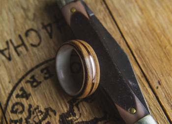 8 mm Antler Inlay & Whiskey Barrel Wood/Brass Inlay Bentwood Ring - BW306