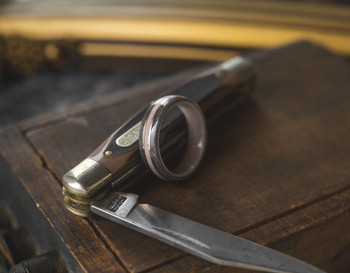 8 mm Antler Inlay & Bird's Eye Maple/Copper Inlay Bentwood Ring - BW307