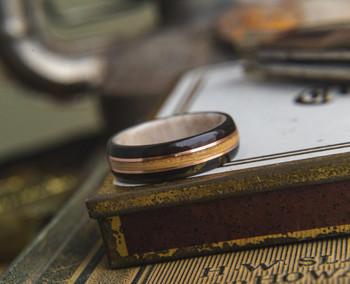 8 mm Antler Sleeve & Whiskey Barrel/Ebony/Copper Inlay Bentwood Ring - BW308