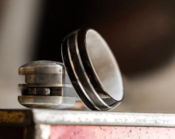 8 mm Antler Sleeve & Maple/Ebony/Silver Inlay Bentwood Ring - BW318