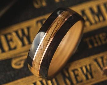 8 mm Whiskey Barrel & Ebony/Copper Inlay Bentwood Ring - BW322