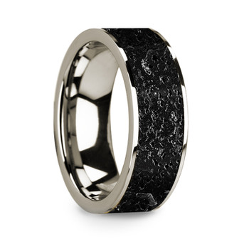 8 mm Lava Rock Inlay in 14 Kt. White Gold - W705TR