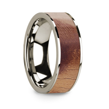 8 mm Olive Wood Inlay in 14 Kt. White Gold - W707TR