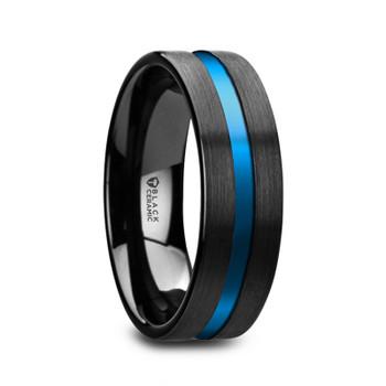 8 mm Black/Blue Tungsten Wedding Bands - W678TR