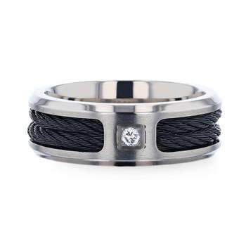 8 mm Brushed Titanium, Black Rope Cables, Diamond - S114TR