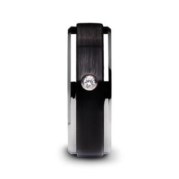 8 mm Black Ceramic Ring with Diamond - M129TR