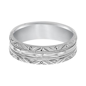 6 mm 10kt. White Gold Handcrafted in U.S. - Temple