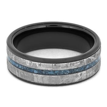 8 mm Mens Wedding Bands in Black Ceramic/Meteorite/Turquoise - BC512M