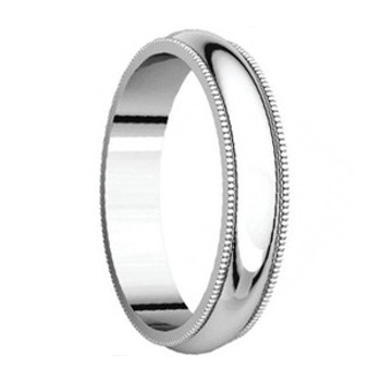 5 mm 14kt. Mens Wedding Bands in White Gold Handcrafted - New Yorker 14