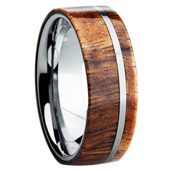 8 mm Wood Mens Wedding Bands in Titanium - K109M-KOA