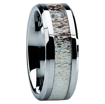 8 mm Antler Mens Wedding Bands in Titanium  - C121M