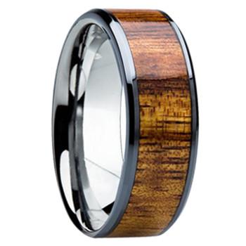 8 mm Unique Mens Wedding Bands - KOA Wood Inlay - K121M