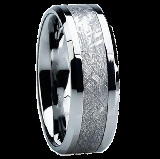 8 mm Titanium Mens Wedding Bands with Meteorite - H119M