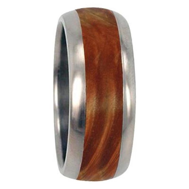 10 mm Unique Mens Wedding Bands - Titanium & Box Elder Burl Wood Inlay - G222M
