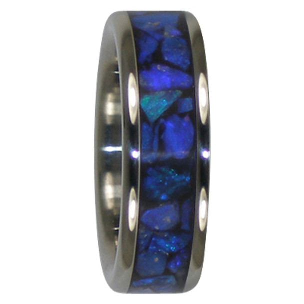 8 mm Black Opal Inlay, Titanium - J808H