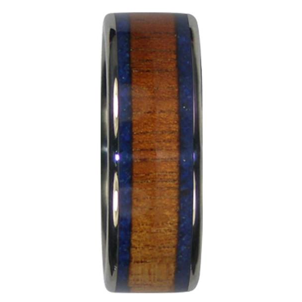 8 mm Blue Lapis, KOA Inlay, Titanium Mens Wedding Bands - S344H