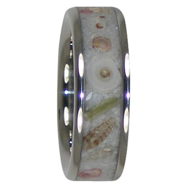 8 mm Unique Mens Wedding Bands in Sea Shell Inlay, Titanium - X999H