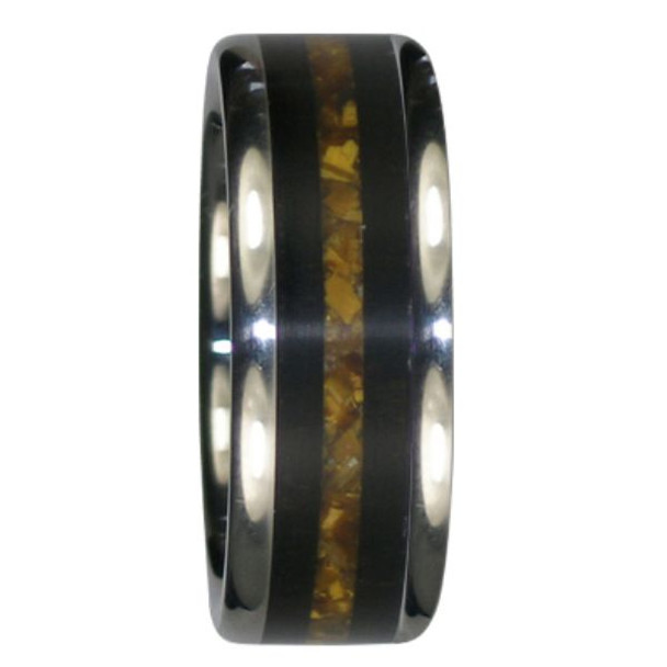 8 Mm Unique Mens Wedding Bands Black Wood And Gold Tiger S Eye Wood