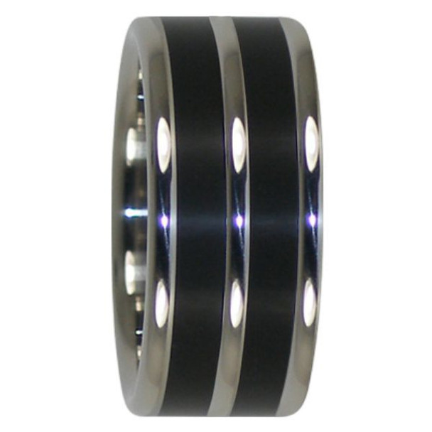 10 mm Double Black African Wood, Titanium - AA232H