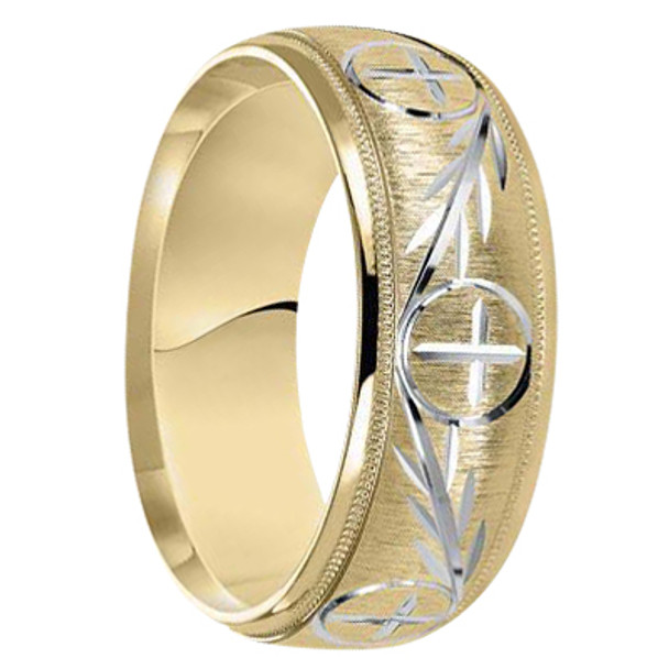 8 mm 10kt. Unique Mens Wedding Bands in Two-tone Gold Handcrafted - Denver-10