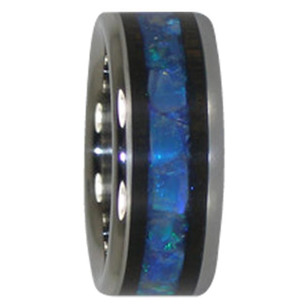 9 mm Australian Opal and Blackwood Inlay, Titanium - A229H