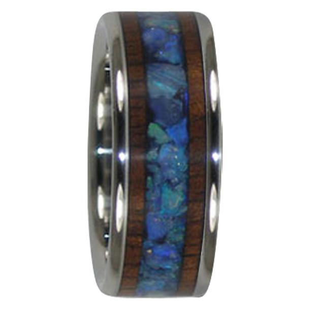 9 mm Australian Opal and KOA Wood Inlay, Titanium - A300H