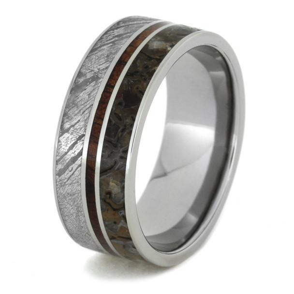 9 mm Titanium with Dinosaur Bone, KOA Wood, and Gibeon Meteorite - D696M