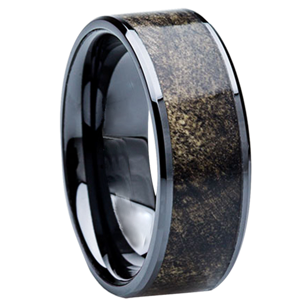 8 mm Unique Mens Wedding Bands - Black Ceramic & Buckeye wood Inlay - BC115M