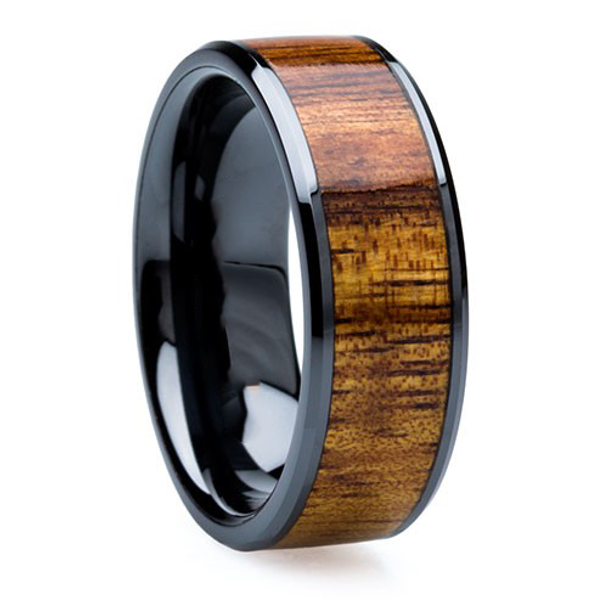 8 mm Wood Mens Wedding Bands & KOA Inlay - BC121M