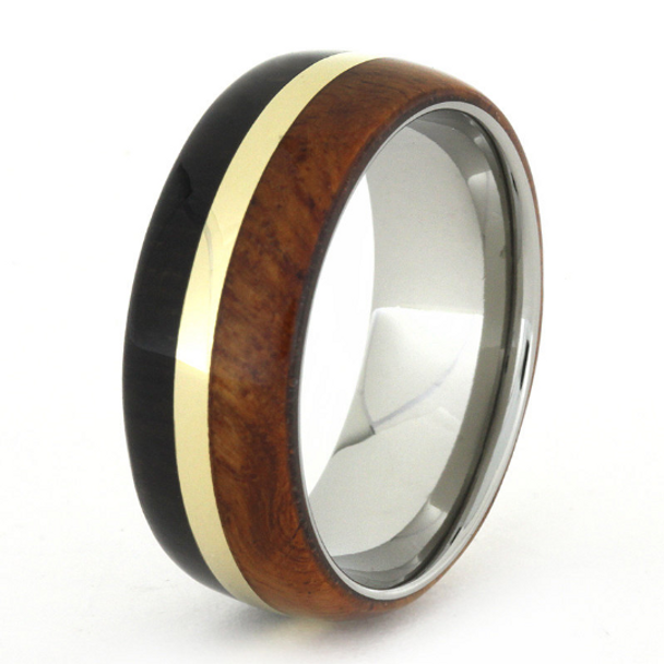 7 mm African Blackwood/Amboyna Wood with 14 kt Gold in Titanium - A732M