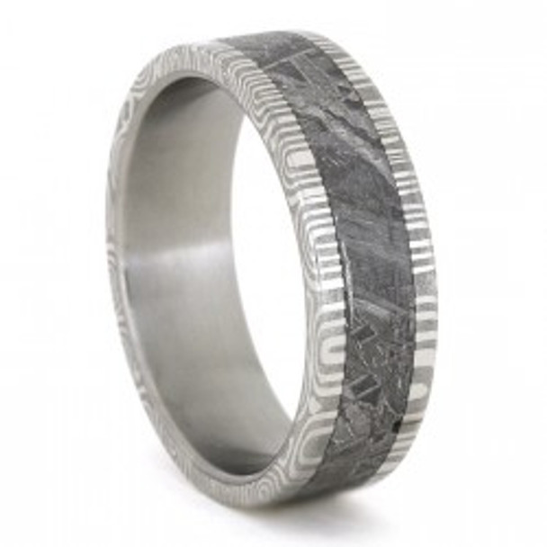 7 mm Damascus Steel and Gibeon Meteorite Wedding Ring - D779M
