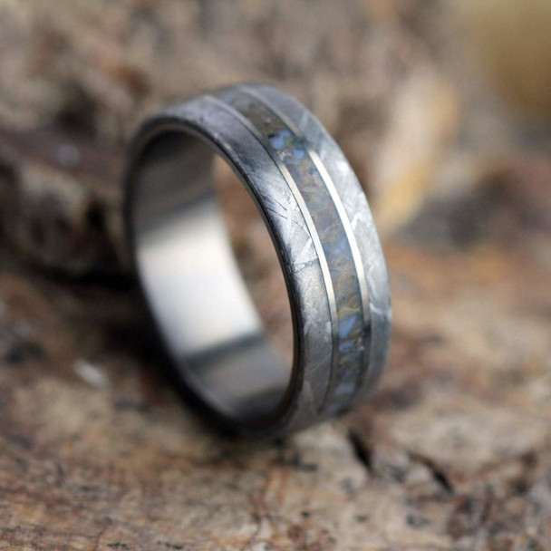 7 mm Titanium with Dinosaur Bone/Gibeon Meteorite - M855M