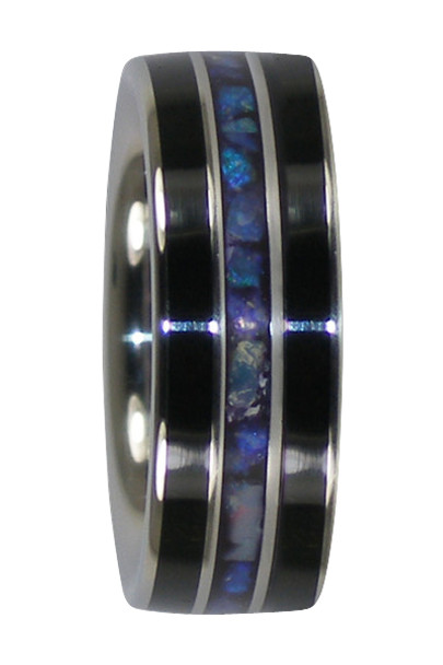 8 mm Black Jet and Lightning Ridge Opal, Titanium Bands - ZZ293H