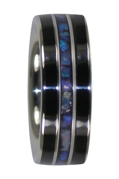 8 mm Black Jet and Lightning Ridge Opal, Titanium Bands - ZZ293H