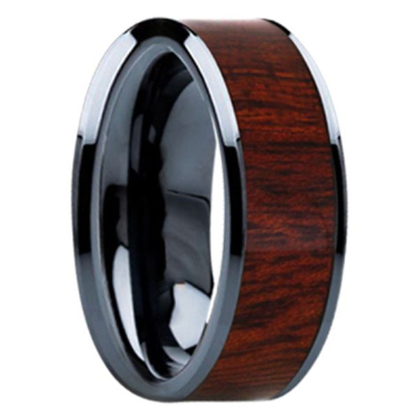 8 mm Mens Wedding Bands - Black Ceramic & Bloodwood Inlay - BC098M