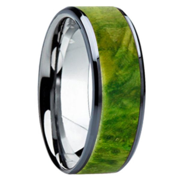 8 mm Unique Wedding Bands - Green Box Elder Wood Inlay - K121M-GreenBE