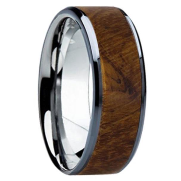 8 mm Unique Bands -  Teak Wood Inlay - K121M-Teak