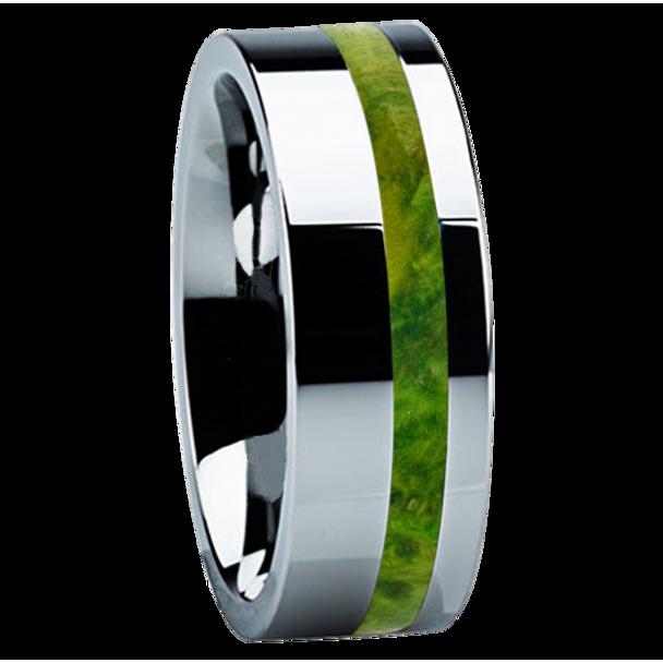 8 mm Unique Titanium Wedding Bands with Green Box Elder Wood - B122M-GreenBE