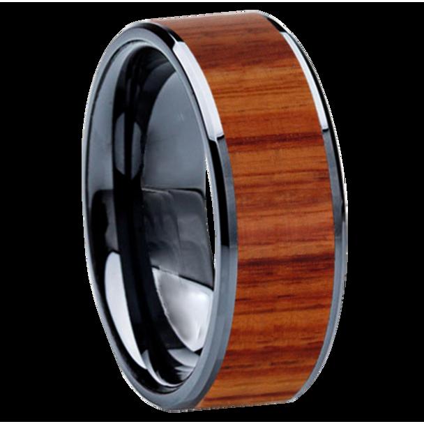8 mm Wedding Bands - Black Ceramic & Tulip wood Inlay - BC115M-Tulip