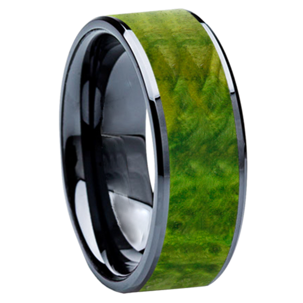 8 mm Wedding Bands - Black Ceramic & Green BEB Wood Inlay - BC115M-GreenBEB