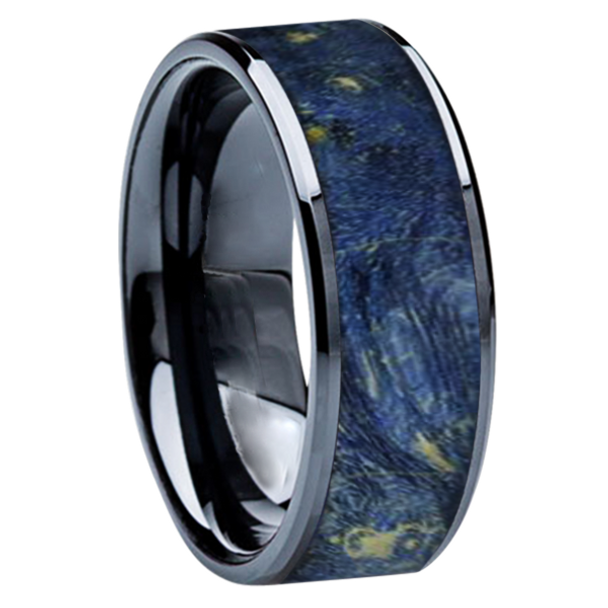 8 mm Wedding Bands - Black Ceramic & Blue BEB Wood Inlay - BC115M-BlueBEB