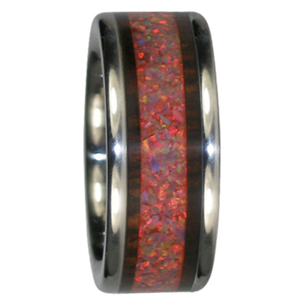 10 mm Kingwood and Red Opal Inlay, Titanium - KW201H