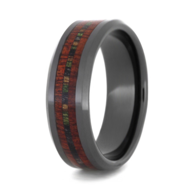 8 mm Unique Mens Wedding Bands - Black Ceramic & Bloodwood Inlay - BCB281M