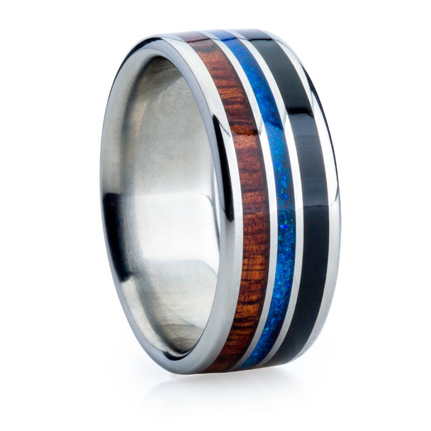 9 mm Unique Bands -  Dark KOA and Black/Blue Jet Opal - NA575JH