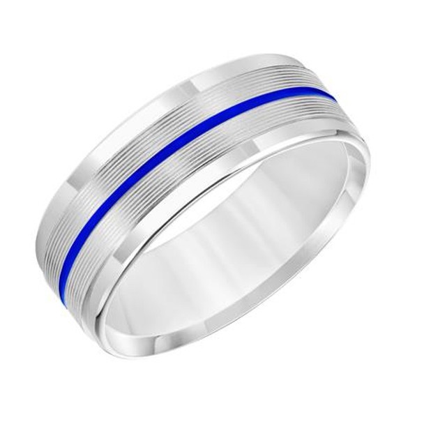 7.5 mm 14k White Gold Handcrafted in U.S. - Blue Sentenial